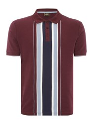 Merc Men's Short Sleeve Vertical Stripe Polo Wine