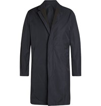 Wooyoungmi Faille Trimmed Twill Trench Coat Blue