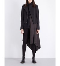 Isabel Benenato Contrast Panel Wool Blend And Leather Jacket Black