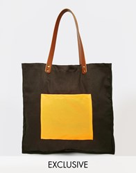 Reclaimed Vintage Canvas Tote Bag With Leather Detail Olive