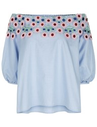 Peter Pilotto Off The Shoulder Bell Sleeve Lace Pallas Blouse In Sky Blue Light Blue