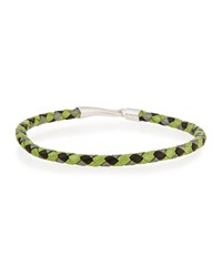 Mateo Sterling And Woven Leather Rope Hook Bracelet Green Silver Black
