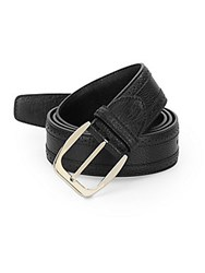 Brioni Brouged Leather Belt Black Grey