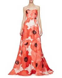 Lela Rose Strapless Oversized Floral Print Gown Red Multi Red Multi