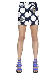 Kenzo Polka Dot Printed Denim Mini Skirt