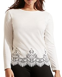 Ralph Lauren Lace Hem Long Sleeve Tee French Cream