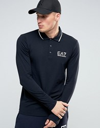 Emporio Armani Ea7 Polo Shirt With Tipping In Black Long Sleeves Black