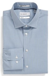 Calibrate Men's Big And Tall Trim Fit Non Iron Check Stretch Dress Shirt Teal Turquoise