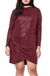 Rachel Roy Plus Size Women's Draped Hem Sequin Body Con Dress