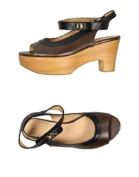 Platform Sandals Dark Brown