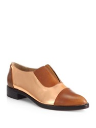 Jenni Kayne Two Tone Leather Oxfords Brown Rose