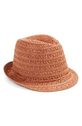 Women's Caslon Open Weave Straw Fedora Coral Coral Dark Combo
