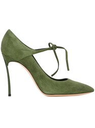 Casadei Stiletto Heel Tie String Pumps Green