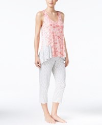 Ellen Tracy Mixed Print Top And Cropped Pants Pajama Set Ivory Coral Paisley
