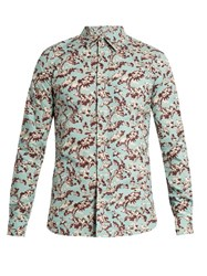 Marni Floral Print Cotton Shirt Blue Multi