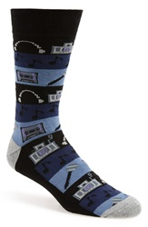 1901 'Mixed Music' Socks 3 For 25 Navy