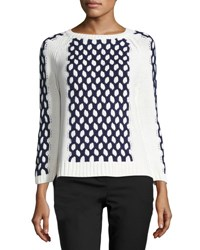Vince Camuto Paneled Knit Pullover Sweater Antiq Whit
