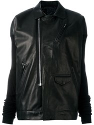 Rick Owens Ribbed Sleeve Leather Jacket Black