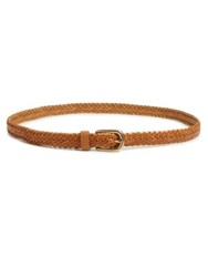Streets Ahead Woven Leather Skinny Belt Camel Brown