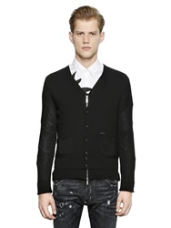 Dsquared Layered Zip And Button Up Wool Cardigan Black