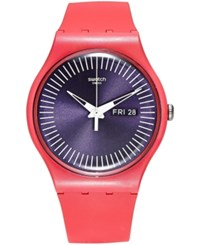 Swatch Women's Swiss Berry Rail Pink Silicone Strap Watch 41Mm Suop702