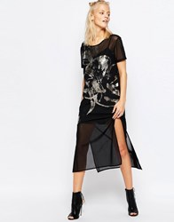 Religion Radience T Shirt Dress Jet Black