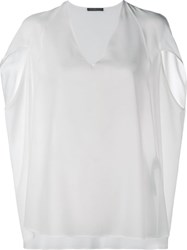Alexander Mcqueen Cape Style Top White