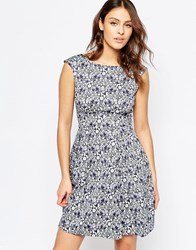 Closet Flare Dress With V Back In Thistle Print Blue Cream
