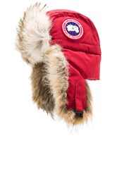 Canada Goose Aviator Hat With Coyote Fur Trim Red