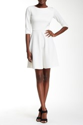Donna Morgan Elbow Length Sleeve Fit And Flare Dress White
