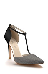 Shoes Of Prey Women's D'orsay T Strap Pump Black Grey Leather