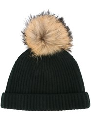 N.Peal Detachable Pompom Ribbed Beanie Green