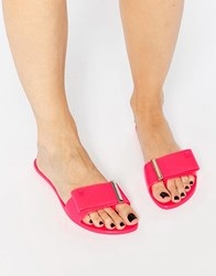 Melissa Lovely Slide Bow Flat Sandals Pink Neon