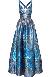 Temperley London Arazzi Printed Textured Lame Maxi Dress Blue