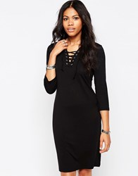 B.Young Rosil Lace Up Neck Bodycon Dress Parisian Night Navy