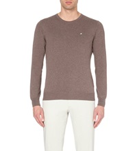 J. Lindeberg Crew Neck Knitted Fine Cotton Jumper Lt Brwn Mel
