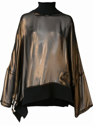 Ann Demeulemeester High Neck Blouse Metallic