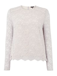 Pied A Terre Long Sleeve Lace Top Grey