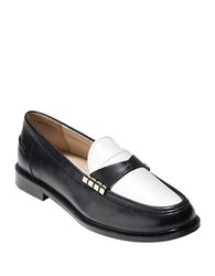Cole Haan Mazie Colorblock Leather Loafer Black White