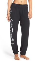 Lauren Moshi 'Tanzy' Love Graphic Lounge Pants Jet Black Happy Love