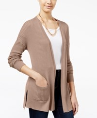 Freshman Juniors' Ribbed Open Front Cardigan Sandy Taupe