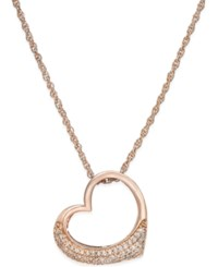 Macy's Diamond Heart Pendant Necklace 1 5 Ct. T.W. In Rose Gold Plated Sterling Silver