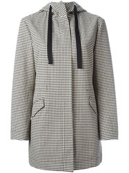 Red Valentino Checked Hooded Coat Black