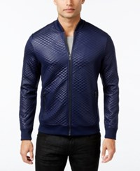 Inc International Concepts Men's Diamond Quilted Bomber Jacket Only At Macy's Basic Navy