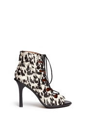 Derek Lam 'Inga' Cheetah Print Calf Hair Lace Up Boots Animal Print Multi Colour