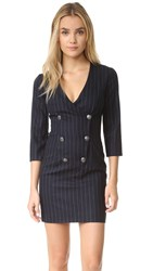 Balmain Pinstripe Double Breasted Dress Navy Grey