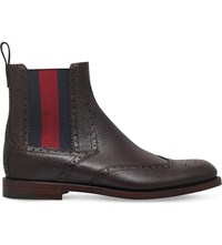 Gucci Strand Wed Detail Leather Chelsea Boots Brown