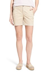 Caslon Women's 'Addison' Zip Pocket Shorts Tan Oxford