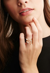 Forever 21 Cc Skye Stacked Faux Pearl And Rhinestone Ring Gold White