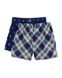 Psycho Bunny Cotton Boxer Shorts 2 Pack Set Navy